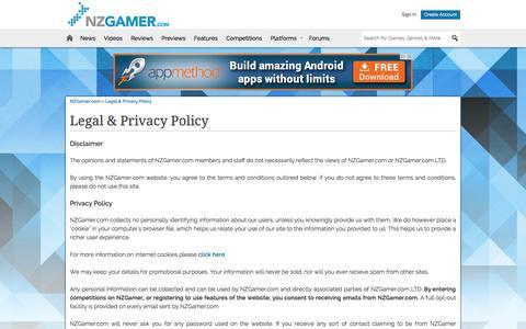 Screenshot of Privacy Page nzgamer.com - Privacy Policy - NZGamer.com - captured Sept. 22, 2014