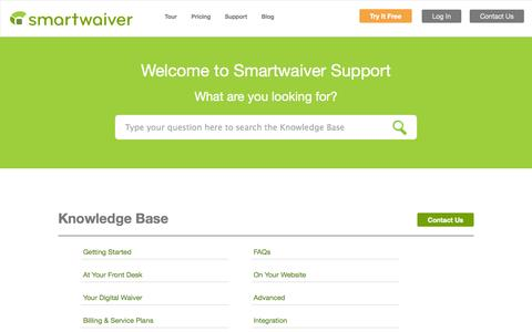 Screenshot of Support Page smartwaiver.com - Smartwaiver |     Support - captured Sept. 23, 2014