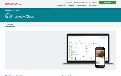 Screenshot of oracle.com - Loyalty Cloud | Customer Experience | Oracle Cloud - captured Oct. 17, 2017