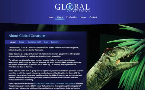 Screenshot of About Page global-creatures.com - Global Creatures - About - captured Sept. 30, 2014
