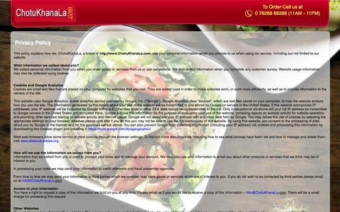 Screenshot of Privacy Page chotukhanala.com - Privacy - Chotu Khana La - captured Sept. 23, 2014