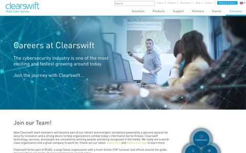 Screenshot of Jobs Page clearswift.com - Careers at Clearswift | Clearswift - captured July 18, 2018