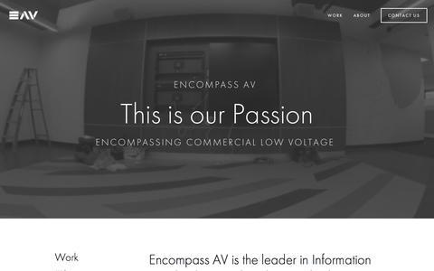 Screenshot of Home Page encompassav.com - Encompass Audio Visual - captured Nov. 8, 2016