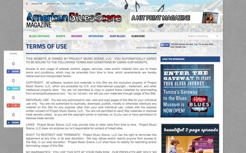 Screenshot of Terms Page americanbluesscene.com - Terms of Use   The very BEST in blues music news, interviews, album reviews! - captured Oct. 1, 2015