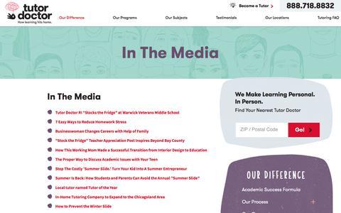 Screenshot of Press Page tutordoctor.com - In The Media | Tutoring Service - captured Oct. 5, 2017
