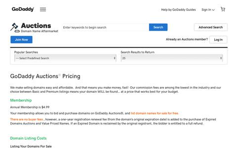Screenshot of Pricing Page godaddy.com - Domain Auction | Buy & Sell Distinctive Domains - GoDaddy - captured Oct. 31, 2019