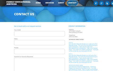 Screenshot of Contact Page fesvirginia.com - CONTACT - captured Oct. 10, 2018