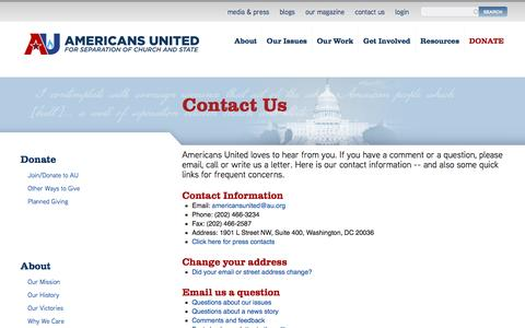 Screenshot of Contact Page au.org - Contact Us | Americans United - captured Oct. 4, 2016