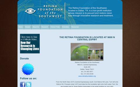 Screenshot of Maps & Directions Page retinafoundation.org - Directions | Retina Foundation - captured Oct. 8, 2014