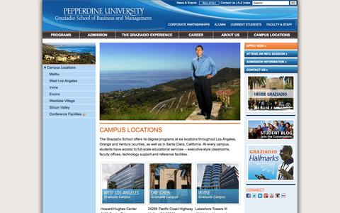 Screenshot of Locations Page pepperdine.edu - Campus Locations | Pepperdine University | Graziadio School of Business and Management - captured Sept. 19, 2014