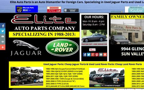 Screenshot of Home Page eliteautopartsinc.com - Elite Auto Parts Specializing in Used Jaguar Parts and Used Land Rover Parts - captured Oct. 2, 2014