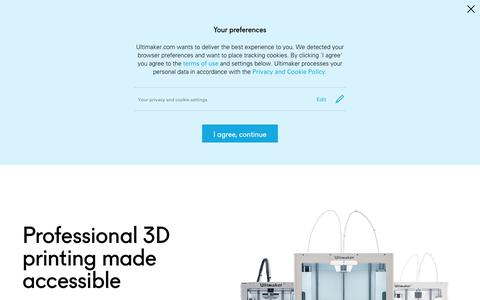 Screenshot of Home Page ultimaker.com - Professional 3D printing made accessible | Ultimaker - captured May 18, 2018