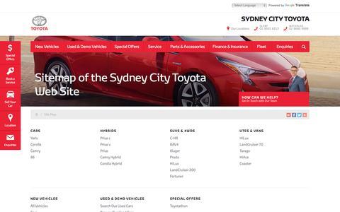 Screenshot of Site Map Page sydneycitytoyota.com.au - Sitemap of the Sydney City Toyota Web Site - Sydney City Toyota - captured Sept. 24, 2018