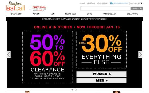 Screenshot of Home Page lastcall.com - Designer Handbags, Dresses, Shoes, Jewelry & Accessories at Neiman Marcus Last Call - captured Jan. 13, 2016