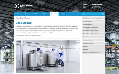 Screenshot of Case Studies Page fisherclinicalservices.com - Fisher Clinical Services | Case Studies - captured Sept. 30, 2014