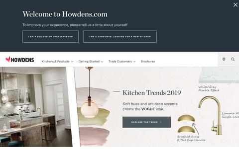 Screenshot of Home Page howdens.com - Howdens | The UK's Number 1 Trade Kitchen Supplier - captured Feb. 9, 2019