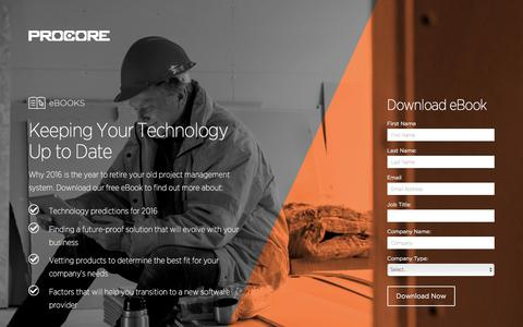 Screenshot of Landing Page procore.com - Keeping Your Technology Up to Date - captured April 5, 2016