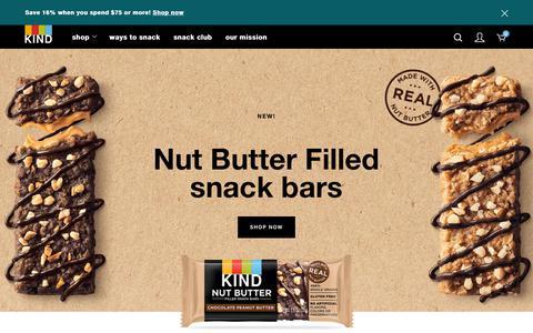 Screenshot of Home Page kindsnacks.com - KIND | Healthy Snacks | Wholesome Granola Bars & Clusters | KIND Snacks - captured Feb. 28, 2019