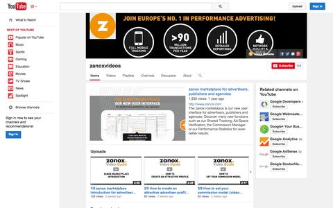 Screenshot of YouTube Page youtube.com - zanoxvideos  - YouTube - captured Oct. 29, 2014