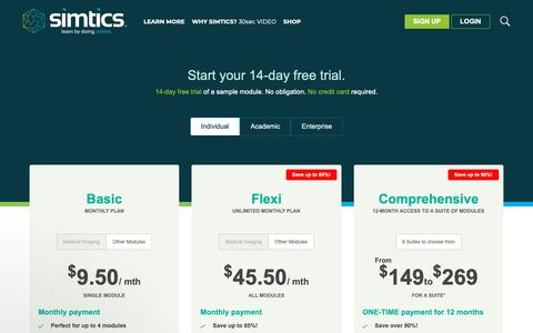 Screenshot of Pricing Page simtics.com - Individual - SIMTICS - captured Oct. 1, 2018