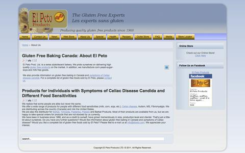 Screenshot of About Page elpeto.com - About Us : Gluten Free Baking Canada. Products to Treat Symptoms of Celiac Disease Candida.   A Complete List of Gluten Free Foods Available. - captured Jan. 27, 2016