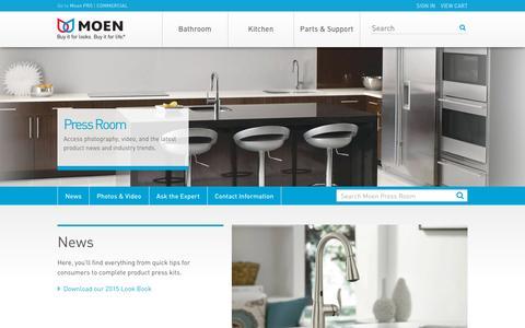 Screenshot of Press Page moen.com - Moen Press Room - captured Oct. 27, 2015
