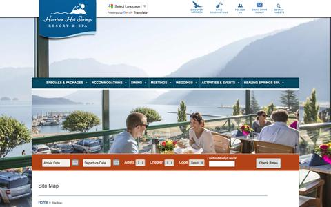 Screenshot of Site Map Page harrisonresort.com - Site Map | Harrison Hot Springs Resort & Spa - captured Aug. 30, 2016
