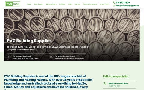Screenshot of Products Page pvcbuildingsupplies.com - Products - captured Sept. 26, 2018