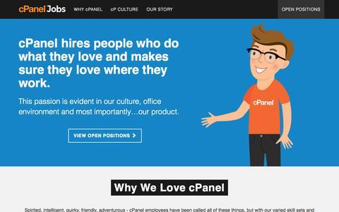 Screenshot of Jobs Page cpanel.net captured Sept. 19, 2014