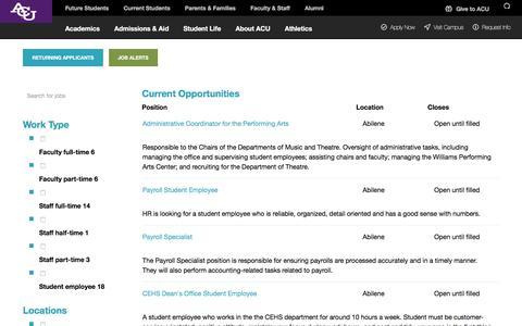 Screenshot of Jobs Page acu.edu - ACU Careers - captured Sept. 22, 2018