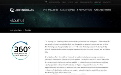 Screenshot of About Page lookingglasscyber.com - About LookingGlass, Cybersecurity Leaders, Threat Intel - captured July 19, 2019
