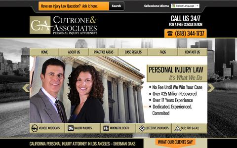 Screenshot of Home Page california-personal-injury-lawfirm.com - California Personal Injury Attorney in Sherman Oaks | Injury Law Firm - captured Sept. 23, 2014