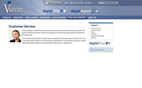 Screenshot of Support Page viatran.com - Pressure Sensor Customer Service - captured Sept. 30, 2014