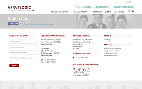 Screenshot of Contact Page vervelogic.com - Contact Us - captured Oct. 20, 2015