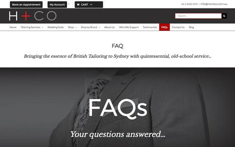 Screenshot of FAQ Page handco.com.au - FAQ's | Most Asked Questions | Frequently Asked Questions | H+Co - captured Oct. 27, 2017