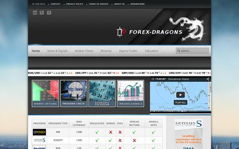Screenshot of Home Page forex-dragons.com - Forex-Dragons.com Forex-Dragons.com - Online-Broker Comparison, Trading Signals, Economic Calendar, Broker Reviews, Business News and more... - captured Feb. 10, 2016
