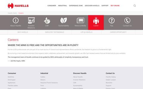 Screenshot of Jobs Page havells.com - Careers - captured Nov. 2, 2016