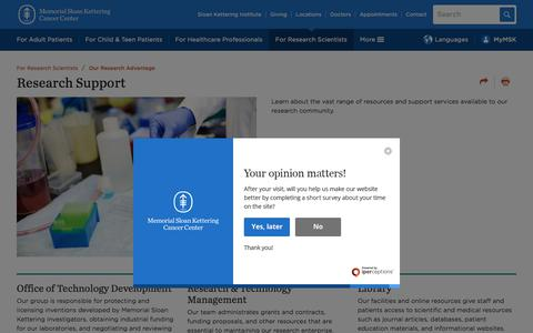 Screenshot of Support Page mskcc.org - Research Support | Memorial Sloan Kettering Cancer Center - captured July 25, 2019