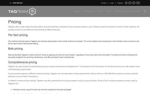 Screenshot of Pricing Page tagteamaustralia.com - Tagteam - captured Dec. 20, 2016