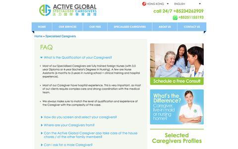 Screenshot of FAQ Page activeglobalcaregiver.hk - FAQ   Active Global Caregiver - captured Jan. 27, 2017