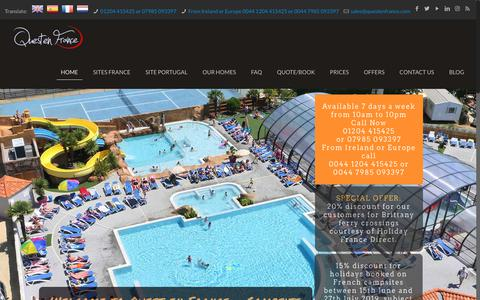 Screenshot of Home Page questenfrance.com - Mobile home holidays in France and Portugal - captured Oct. 21, 2018