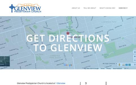 Screenshot of Maps & Directions Page glenviewchurch.ca - Get directions to Glenview — Glenview Presbyterian Church - captured Dec. 15, 2018
