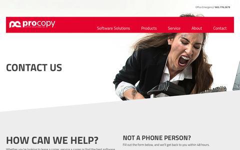 Screenshot of Contact Page procopyoffice.com - Contact ProCopy Office Solutions About Your Copier Lease - captured Feb. 16, 2019