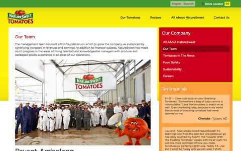 Screenshot of Team Page naturesweet.com - Our Team | NatureSweet - captured Oct. 1, 2014
