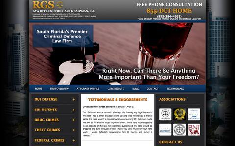Screenshot of Testimonials Page salzmanattorney.com - Testimonials & Endorsements - captured Oct. 2, 2014