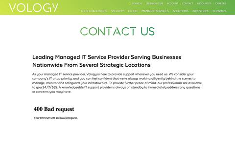Screenshot of Contact Page vology.com - Contact Our Managed IT Service Desk | Vology - captured Dec. 9, 2018