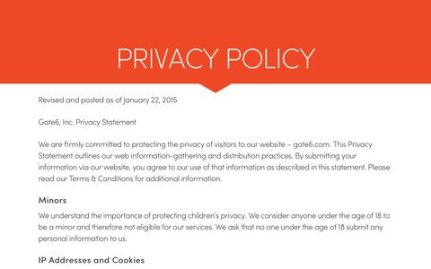Gate6 Privacy Policy