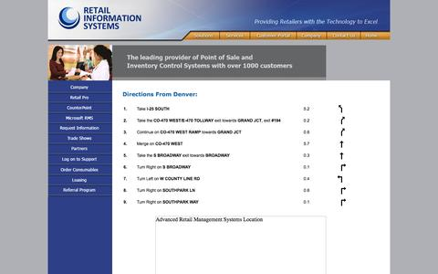 Screenshot of Maps & Directions Page armsys.com - POS, Point of Sale Software, POS Systems, Retail Pro, RMS, CounterPoint - Advanced Retail Management Systems - captured Oct. 4, 2014