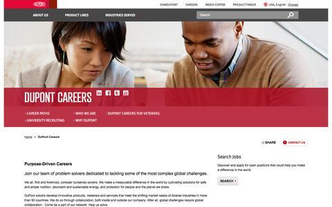 Screenshot of Jobs Page dupont.com - Careers    DuPont USA   DuPont USA - captured Jan. 12, 2018