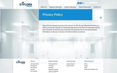 Screenshot of Privacy Page explorabiolabs.com - Privacy Policy | Explora BioLabs - captured Sept. 30, 2014
